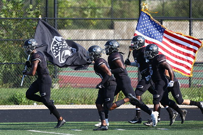 George P. Smith/The Montgomery Sentinel    Northwest High School taking the field against Our Lady of Good Counsel High School in the game played at Gaithersburg High School on Saturday, September 29, 2018 due to wet field conditions at Northwest.