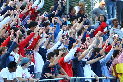 George P. Smith/The Montgomery Sentinel    Georgetown Prep student section during the game against Landon played on Saturday, October 20, 2018.