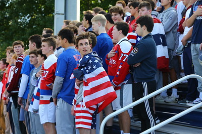 George P. Smith/The Montgomery Sentinel    Georgetown Prep student section during the National Anthem in the game against Landon played on Saturday, October 20, 2018.