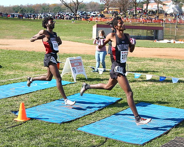 """George P. Smith/The Montgomery Sentinel    Northwood High School's Obsaa Feda (15:44.05) Eldad Mulugeta(15:44.29)  finished 1st and 2nd in the 4A Boys Division of the Maryland State Public School's Cross Country Championship held at Hereford High School on Saturday, November 10, 2018. According to MoCo Running, """"they are the first male teammates to finish one-two in the Maryland 4A classification since 2001, and the first from Montgomery County to do it since 1992""""."""