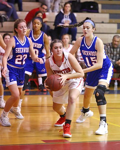 George P. Smith/The Montgomery Sentinel    Wooton's Sivan Bennaim (23) looks to pass across the key.