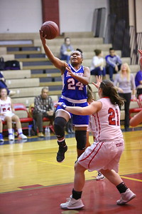 George P. Smith/The Montgomery Sentinel    Sherwood's Chase Bell (24) goes for the hoop as Wootton's Crystal Bridge (21) stands her ground in the paint.