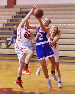 George P. Smith/The Montgomery Sentinel    Sherwood's Caroline Bidwick (2) gets mauled by Wootton's Sivan Bennaim (23) and Samantha Keller (24) as she does up for a shot.