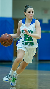 Cat Correa leads all scorers with 16 points and helps Churchill beat Damascus 50-33.  PHOTO BY MIKE CLARK