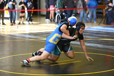 George P. Smith/The Montgomery Sentinel    In the 161 lb bracket, Gaithersburg's Yuri Alfaro defeated Charles F. Flowers' Mulana Jenkins with a pin at 1:54 but went on to lose to Quince Orchard's Sarah Mesri with a fall at 0:28.