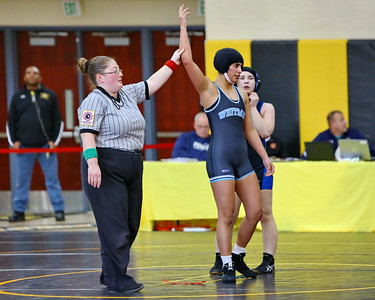George P. Smith/The Montgomery Sentinel    Whitman's Stephanie Solloso defeated Kenwood's Brooke Markell to win the 127 lb weight class in the 2019 MPSSAA Girls Invitational Wrestling Tournament.