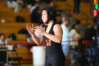 George P. Smith/The Montgomery Sentinel    Wheaton's Jeanne Ngo lost to Carver's Olivia Hutchinson by a fall at 4:43 in the 117 lb weight class.