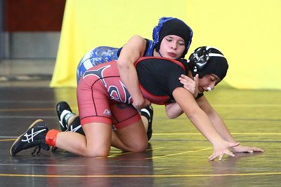 George P. Smith/The Montgomery Sentinel     Quince Orchard's Rebecca Soto lost to Henry E. Lackey's Savannah McBain in the 106 lb weight class. McBain finished 1st and Soto finished 2nd overall.