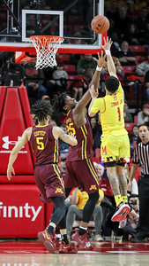 Anthony Cowan Jr. (1) of Maryland has a dominate night against Minnesota recording 21 points, five assists, two steals, and a blocked shot. PHOTO BY MIKE CLARK
