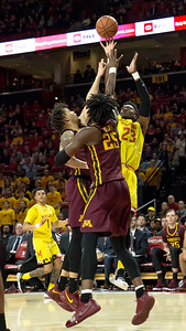 The Minnesota defense did not have an answer to stopping Maryland's Bruno Fernando (23), who finished with 11 points and 11 rebounds. PHOTO BY MIKE CLARK