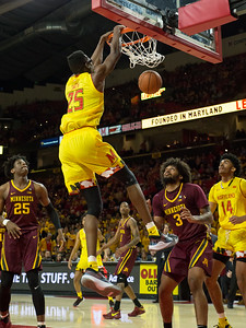 Maryland's Jalen Smith has a big night against Minnesota for the last regular season game. Smith finished with 19 points and 11 rebounds, as well as this monster slam. PHOTO BY MIKE CLARK