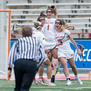 Undefeated Maryland celebrates a dramatic 2nd overtime win over 4th ranked Syracuse. PHOTO BY MIKE CLARK