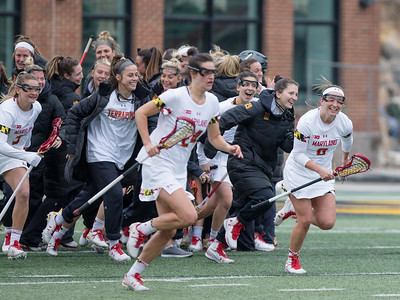 The Maryland Terrapins celebrate a big win over the Syracuse Orange. PHOTO BY MIKE CLARK