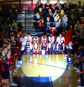 George P. Smith/The Montgomery Sentinel    The Governor Thomas Johnson High School starters are introduced in a dramatic fashion before the Regional Final against visiting Magruder on Friday, March 8, 2019.
