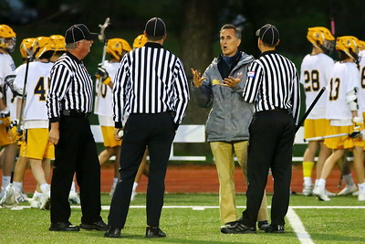 George P. Smith/The Montgomery Sentinel    Bullis' head coach Jeff Bellistri argues a call with the officials.