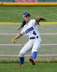 George P. Smith/The Montgomery Sentinel    Sherwood's Gracie Manlapaz (4) sends a hit to the outfield to 1st.