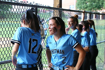 George P. Smith/The Montgomery Sentinel    Lots of smiles in the Whitman dugout. (L-R) Alssa Kline (12), Jaymie  Beers,