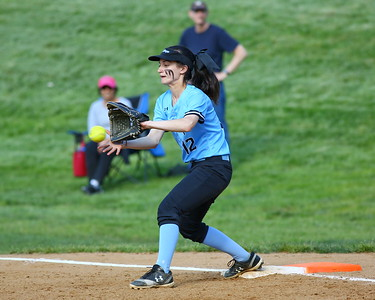 George P. Smith/The Montgomery Sentinel    Walt Whitman's 1st baseman Alyssa Kline (12) making the catch for an out at 1st.