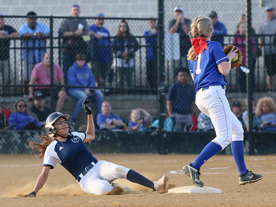 The Sherwood defense, including this force out by Kayley Bina, limited Bowie to four hits and the Warriors advance to the state 4A finals. PHOTO BY MIKE CLARK