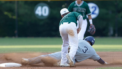 June 6, 2019: The Bethesda Big Train pitching and defense, including this tag out of Alexandria's Riley Cheek by Gio Diaz, helped Bethesda win their home opener 8-0. Photo by Mike Clark/The Mongtomery Sentinel