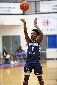 George P. Smith/The Montgomery Sentinel    Georgetown Prep's Zion Russel (1) with the jump shot.