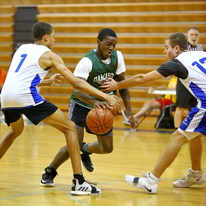 George P. Smith/The Montgomery Sentinel    Damascus' Jalin Grimes (12) dribbling through a Churchill double-team.