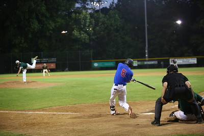 George P. Smith/The Montgomery Sentinel    Silver Spring-Takoma Thunderbolts' designated hitter Brady Pearre (6) who's from Poolesville, slaps a triple to the left field corner.