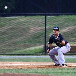 George P. Smith/The Montgomery Sentinel    Bethesda Big Train's Cade Hunter (17) waiting for the ball on 1st.