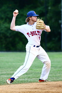 George P. Smith/The Montgomery Sentinel    Silver Spring-Takoma Thunderbolts' Ian McMillan (9) fielded a ground ball and threw to 1st.