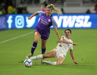 August 24, 2019: Pride Dani Weatherholt (17) gets past Spirit Cali Farquharson (17) during NWSL action between Orlando Pride and Washington Spirit in Washington DC. Photos by Chris Thompkins/Montgomery County Sentinel