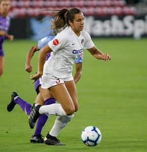 August 24, 2019: Spirit Samantha Staab (3) goes to the goal during NWSL action between Orlando Pride and Washington Spirit in Washington DC. Photos by Chris Thompkins/Montgomery County Sentinel