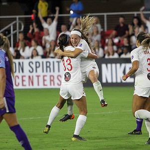 August 24, 2019: Spirit Crystal Thomas (31) and Ashley Hatch (33) celebrates after taking an 2-1 lead during NWSL action between Orlando Pride and Washington Spirit in Washington DC. Photos by Chris Thompkins/Montgomery County Sentinel