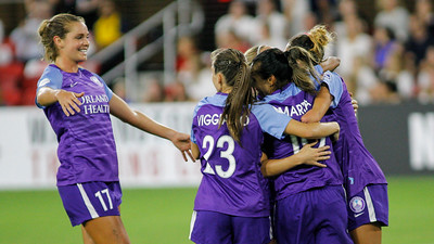 August 24, 2019: Pride players celebrate after Marta (10) goal during NWSL action between Orlando Pride and Washington Spirit in Washington DC. Photos by Chris Thompkins/Montgomery County Sentinel