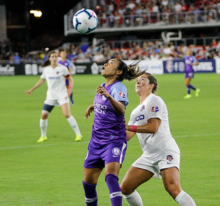 August 24, 2019: Pride Marta (10) attempts to head butt the ball during NWSL action between Orlando Pride and Washington Spirit in Washington DC. Photos by Chris Thompkins/Montgomery County Sentinel