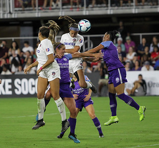 August 24, 2019: Spirit Ashley Hatch (33) scores an goal during NWSL action between Orlando Pride and Washington Spirit in Washington DC. Photos by Chris Thompkins/Montgomery County Sentinel
