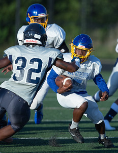 August 29, 2019 - Gaithersburg and Magruder's offenses were largely held in check during the pre-season scrimmage. Photo by Mike Clark/The Montgomery Sentinel