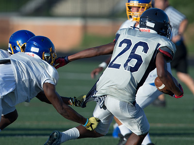 August 29, 2019 - The pre-season scappy play of both Magruder and Gaithersburg led to a fight-shortened scrimmaage. Photo by Mike Clark/The Mongtomery Sentinel