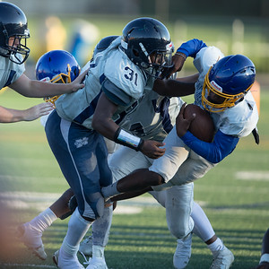 August 29, 2019 - The hard hitting by both Magruder and Gaithersburg defenses was the highlight of the pre-season scrimmage. Photo by Mike Clark/The Montgomery Sentinel