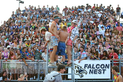 """George P. Smith/The Montgomery Sentinel    The student section """"Falcon Nest"""" at Our Lady of Good Counsel High School during the game against Charolotte Catholic High School on Friday, August 30, 2019."""