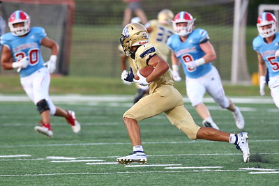 George P. Smith/The Montgomery Sentinel    Good Counsel's Jaylen Dotson (7) rooks downfield as he turns the corner during a punt return.