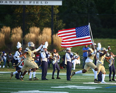 George P. Smith/The Montgomery Sentinel    The Good Counsel Falcons run on to Dancel Field before the game against Charlotte Catholic.