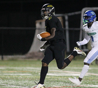 September 13, 2019: Richard Montomery T'Kai Ayoola (9) runs for a touchdown during HS football action between Churchill HS and Richard Montgomery HS in Rockville, MD. Photos by Chris Thompkins/Montgomery County Sentinel
