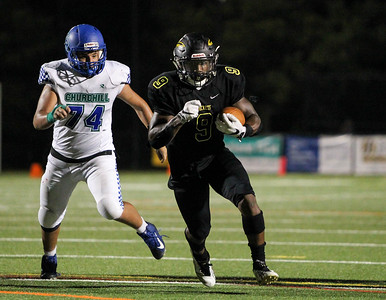 September 13, 2019: Richard Montgomery T'Kai Ayoola (9) runs for his second touchdown during HS football action between Churchill HS and Richard Montgomery HS in Rockville, MD. Photos by Chris Thompkins/Montgomery County Sentinel