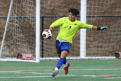 George P. Smith/The Montgomery Sentinel    Gaithersburg's goalie Jonathan Lovo (1) clearing the ball.