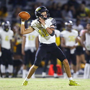 George P. Smith/The Montgomery Sentinel    Richard Montgomery's Kieran Chai-Onn (11) goes back to pass.