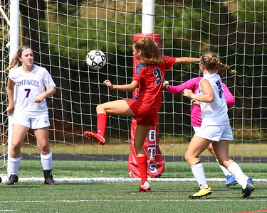 George P. Smith/The Montgomery Sentinel    Wootton's Macy Fewell (3) scored a goal off a rebound from Sherwood goalie Tessa Block (0).