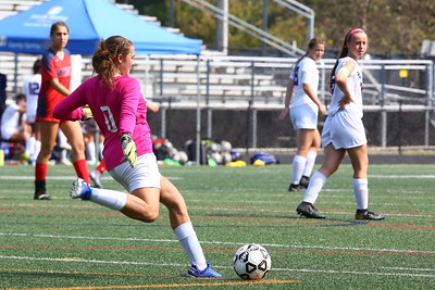 George P. Smith/The Montgomery Sentinel    Sherwood's goalie Tessa Block 0) clears the ball in the game against Wootton.