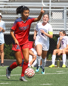 George P. Smith/The Montgomery Sentinel    Wootton's Zara Chavoshi (24) sending a teammate upfield. She scored Wootton's 1st goal in the 4-1 victory over SHerwood.