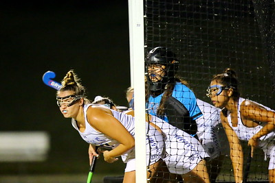 George P. Smith/The Montgomery Sentinel    Blake girls in the goal prepare for a corner.