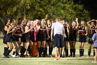 George P. Smith/The Montgomery Sentinel    The Rockville girls varsity field hockey team reacts to their coach telling them that with the 1-0 win over Blake on Tuesday 10/1/19, they had won their Division.
